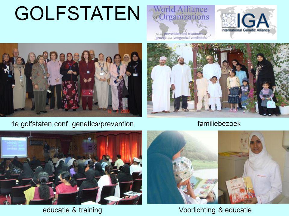 familiebezoek educatie & training GOLFSTATEN 1e golfstaten conf. genetics/prevention Voorlichting & educatie
