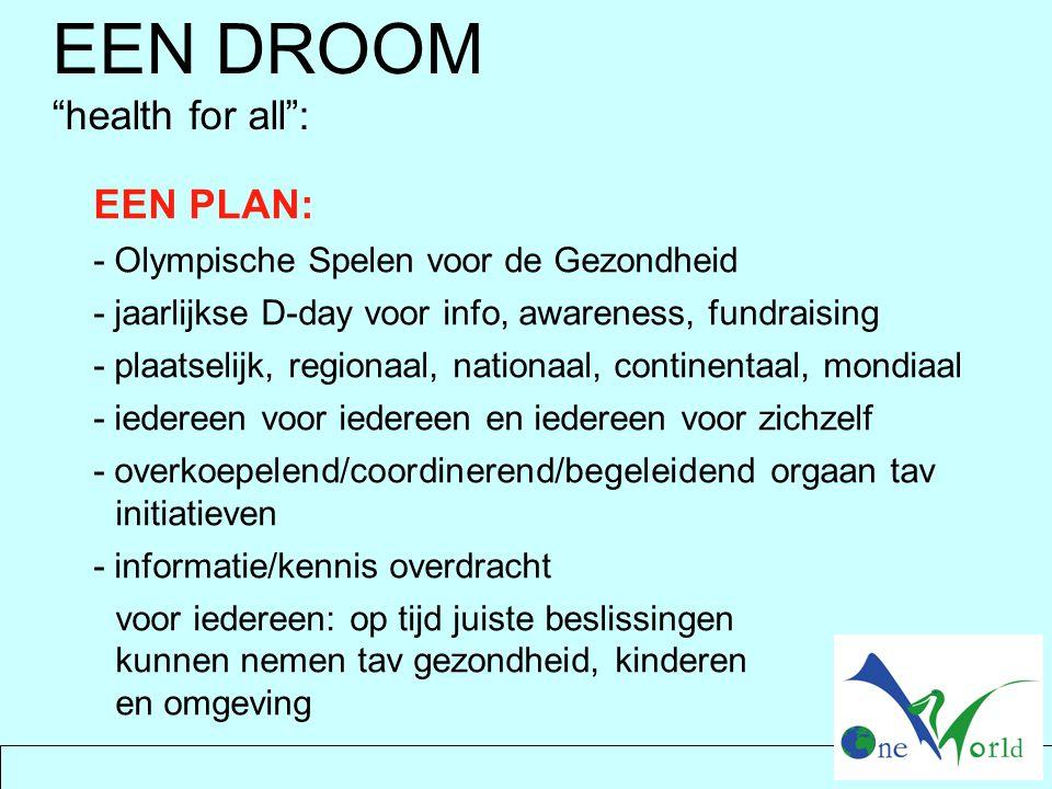 EEN PLAN: - Olympische Spelen voor de Gezondheid - jaarlijkse D-day voor info, awareness, fundraising - plaatselijk, regionaal, nationaal, continentaa