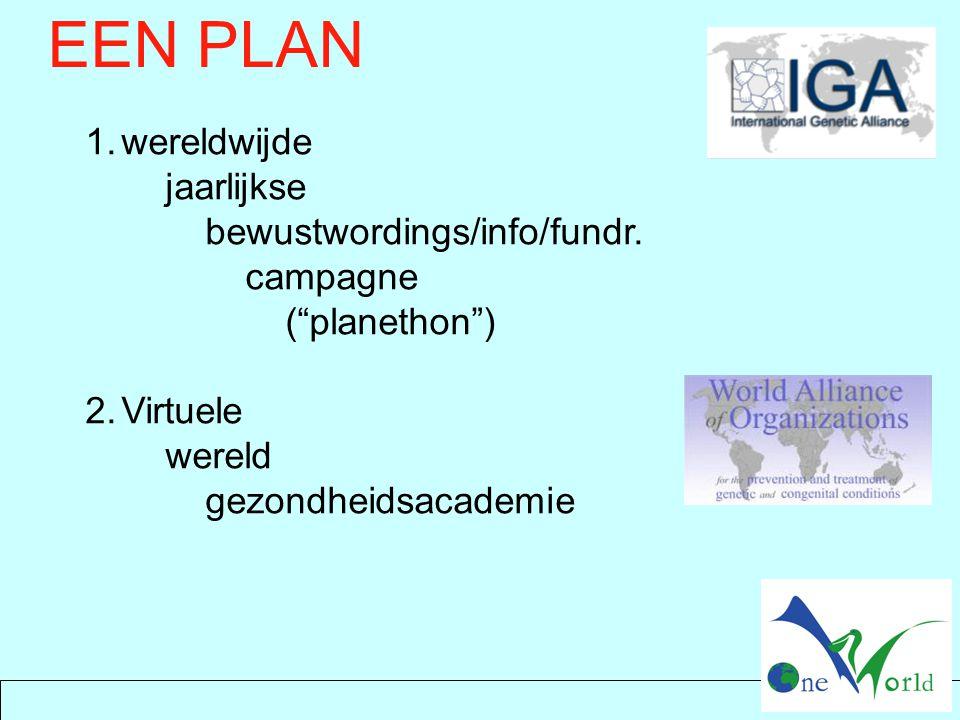 """EEN PLAN 1.wereldwijde jaarlijkse bewustwordings/info/fundr. campagne (""""planethon"""") 2.Virtuele wereld gezondheidsacademie"""