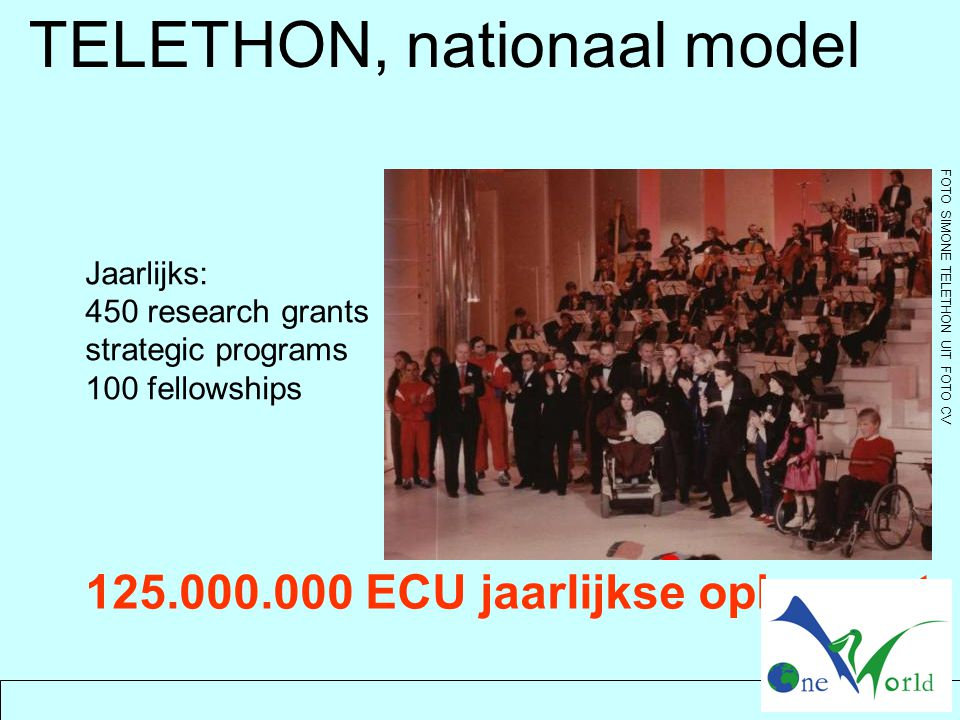 Jaarlijks: 450 research grants strategic programs 100 fellowships FOTO SIMONE TELETHON UIT FOTO CV 125.000.000 ECU jaarlijkse opbrengst TELETHON, nationaal model