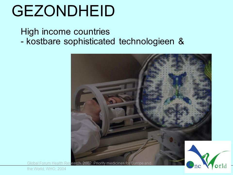 Global Forum Health Research, 2002; Priority medicines for Europe and the World, WHO, 2004 GEZONDHEID High income countries - kostbare sophisticated t