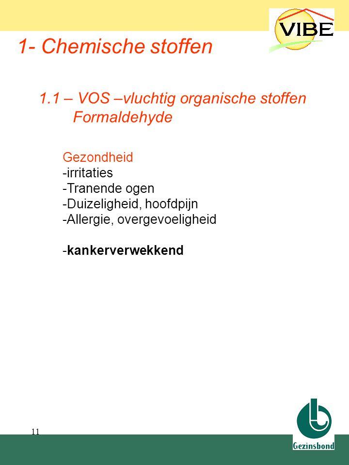 11 1- Chemische stoffen Gezondheid -irritaties -Tranende ogen -Duizeligheid, hoofdpijn -Allergie, overgevoeligheid -kankerverwekkend 1.1 – VOS –vlucht
