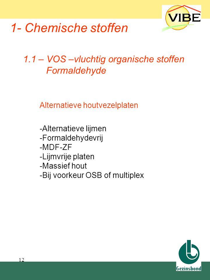 12 1- Chemische stoffen Alternatieve houtvezelplaten -Alternatieve lijmen -Formaldehydevrij -MDF-ZF -Lijmvrije platen -Massief hout -Bij voorkeur OSB