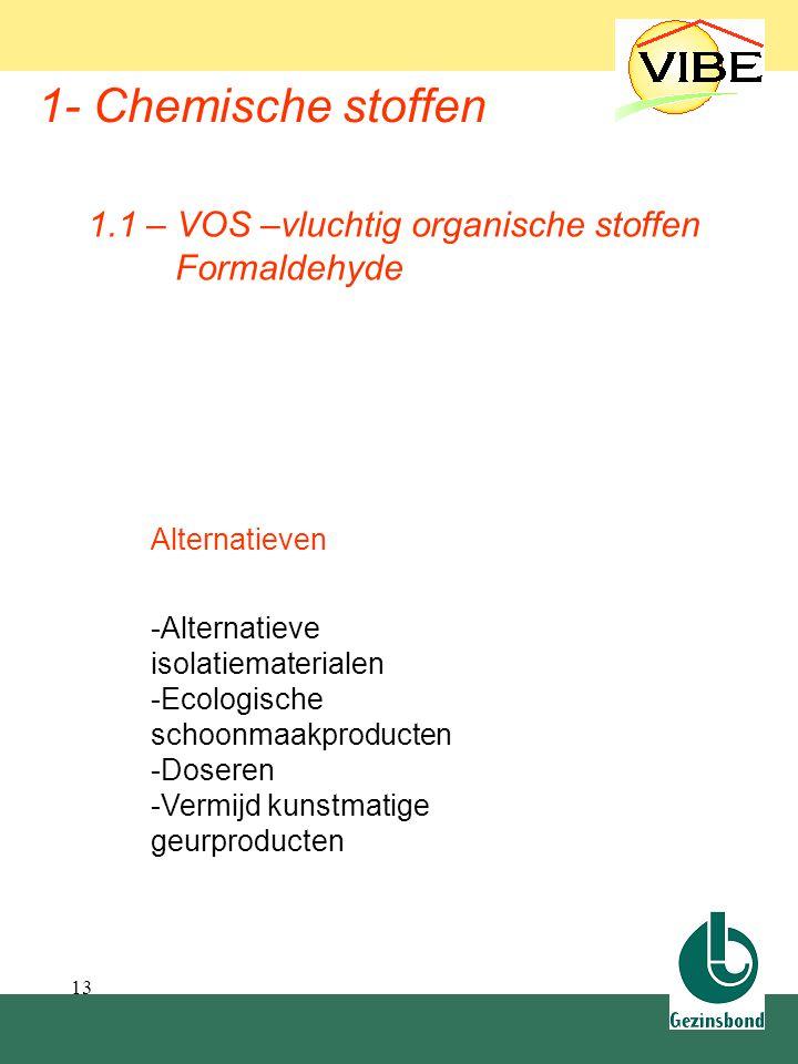 13 1- Chemische stoffen Alternatieven -Alternatieve isolatiematerialen -Ecologische schoonmaakproducten -Doseren -Vermijd kunstmatige geurproducten 1.