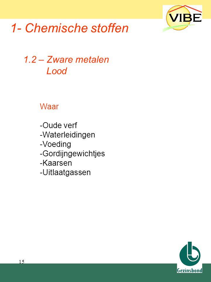 15 1- Chemische stoffen Waar -Oude verf -Waterleidingen -Voeding -Gordijngewichtjes -Kaarsen -Uitlaatgassen 1.2 – Zware metalen Lood 1.2 Zware metalen