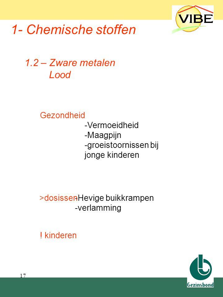 17 1- Chemische stoffen Gezondheid -Vermoeidheid -Maagpijn -groeistoornissen bij jonge kinderen 1.2 – Zware metalen Lood -Hevige buikkrampen -verlammi