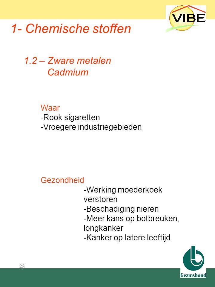 23 1- Chemische stoffen Waar -Rook sigaretten -Vroegere industriegebieden 1.2 – Zware metalen Cadmium Gezondheid -Werking moederkoek verstoren -Bescha