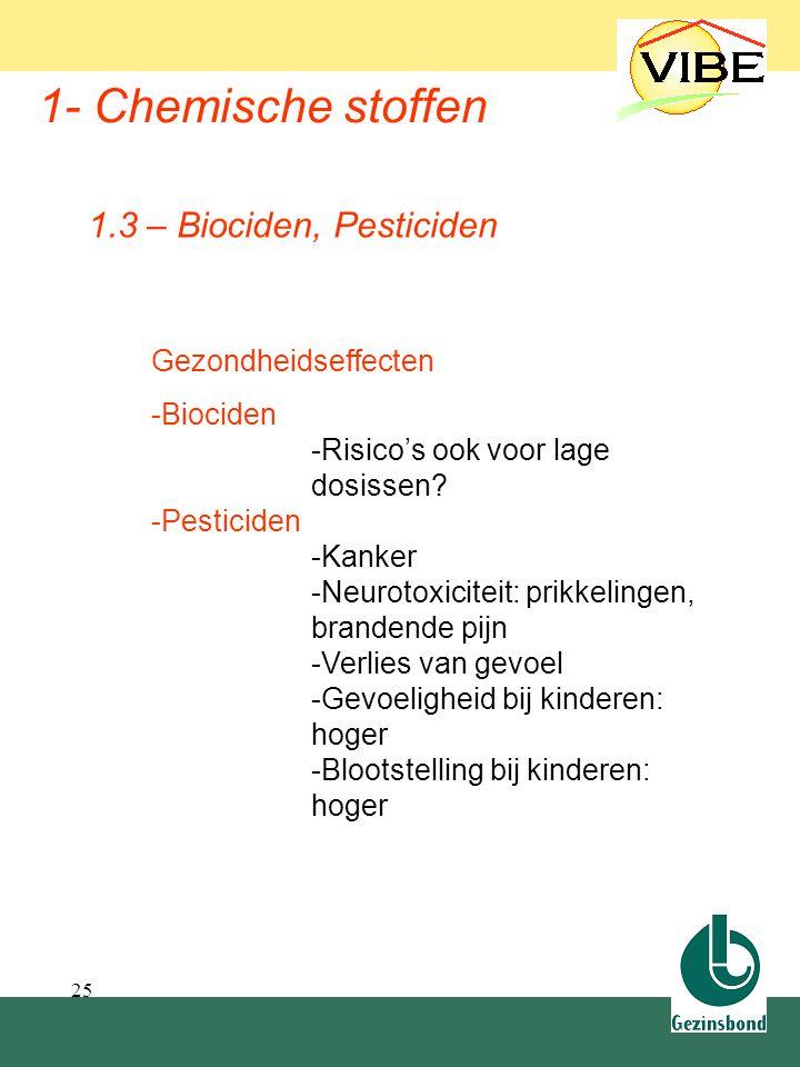 25 1- Chemische stoffen Gezondheidseffecten -Biociden -Risico's ook voor lage dosissen? -Pesticiden -Kanker -Neurotoxiciteit: prikkelingen, brandende