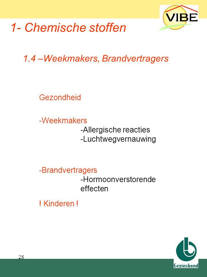 28 1- Chemische stoffen Gezondheid -Weekmakers -Allergische reacties -Luchtwegvernauwing 1.4 –Weekmakers, Brandvertragers -Brandvertragers -Hormoonver
