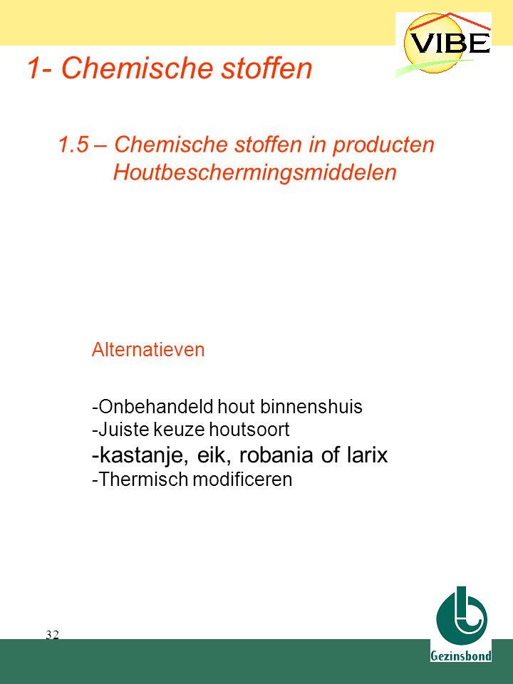 32 1- Chemische stoffen Alternatieven -Onbehandeld hout binnenshuis -Juiste keuze houtsoort -kastanje, eik, robania of larix -Thermisch modificeren 1.