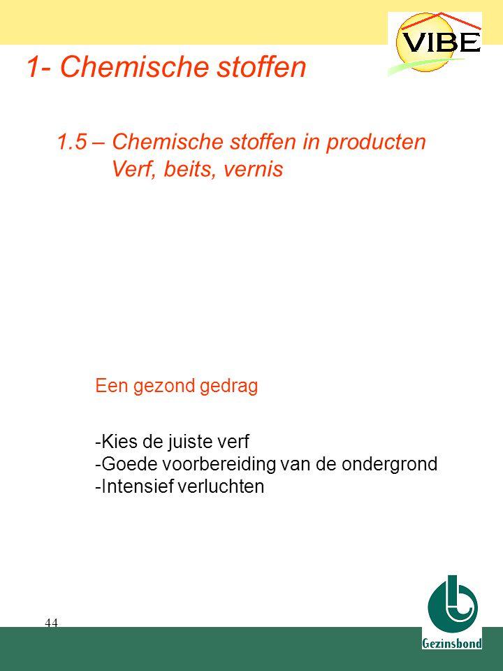 44 1- Chemische stoffen 1.5 – Chemische stoffen in producten Verf, beits, vernis Een gezond gedrag -Kies de juiste verf -Goede voorbereiding van de on