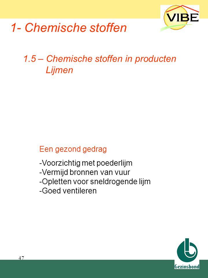 47 1- Chemische stoffen 1.5 – Chemische stoffen in producten Lijmen Een gezond gedrag -Voorzichtig met poederlijm -Vermijd bronnen van vuur -Opletten