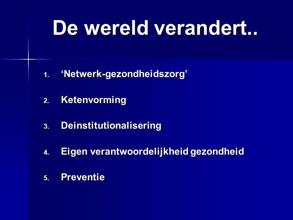 De wereld verandert.. 1. 'Netwerk-gezondheidszorg' 2. Ketenvorming 3. Deinstitutionalisering 4. Eigen verantwoordelijkheid gezondheid 5. Preventie