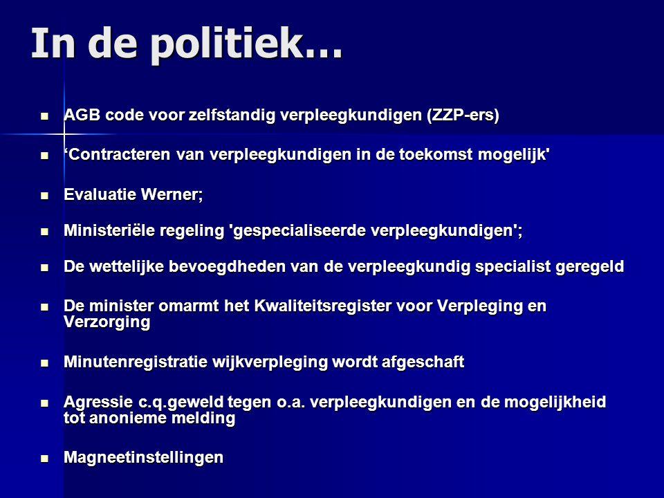 In de politiek… AGB code voor zelfstandig verpleegkundigen (ZZP-ers) AGB code voor zelfstandig verpleegkundigen (ZZP-ers) 'Contracteren van verpleegku