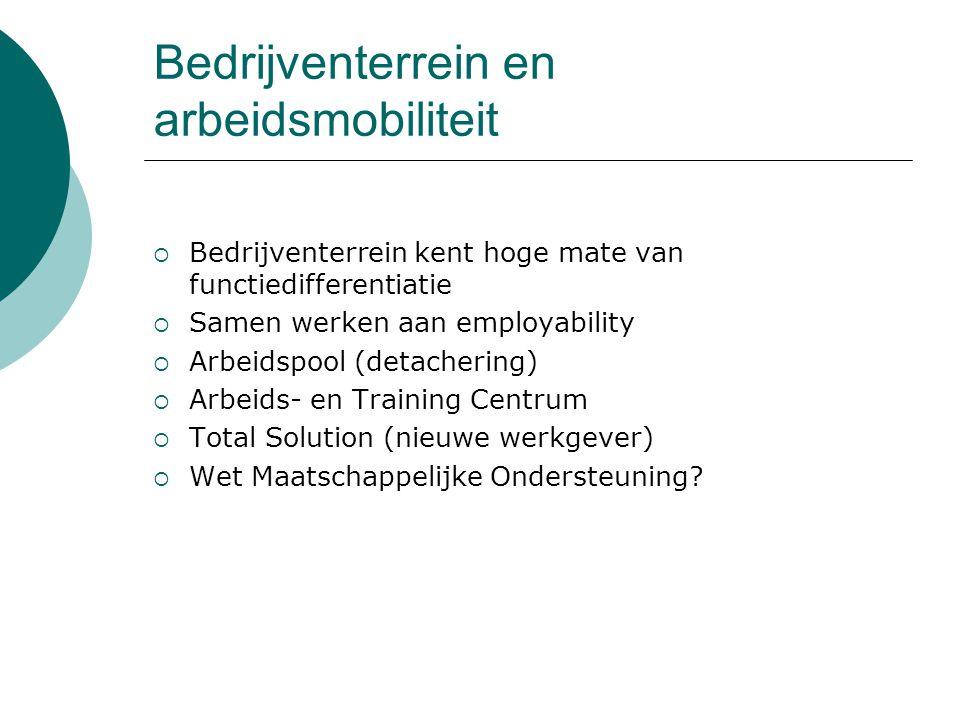 Bedrijventerrein en arbeidsmobiliteit  Bedrijventerrein kent hoge mate van functiedifferentiatie  Samen werken aan employability  Arbeidspool (deta