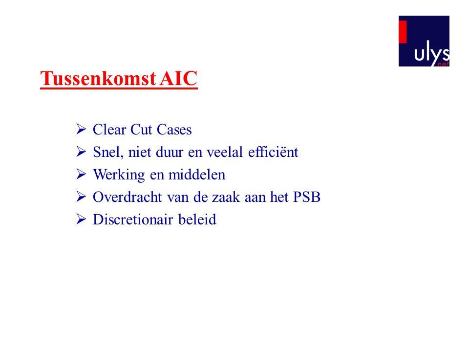 Tussenkomst AIC  Clear Cut Cases  Snel, niet duur en veelal efficiënt  Werking en middelen  Overdracht van de zaak aan het PSB  Discretionair bel
