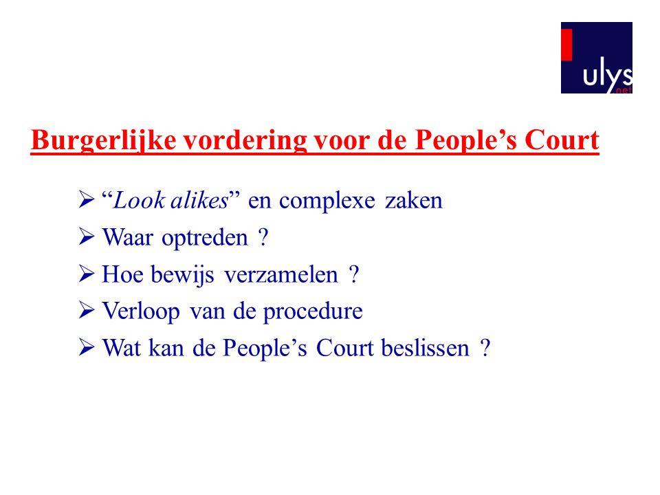 """Burgerlijke vordering voor de People's Court  """"Look alikes"""" en complexe zaken  Waar optreden ?  Hoe bewijs verzamelen ?  Verloop van de procedure"""
