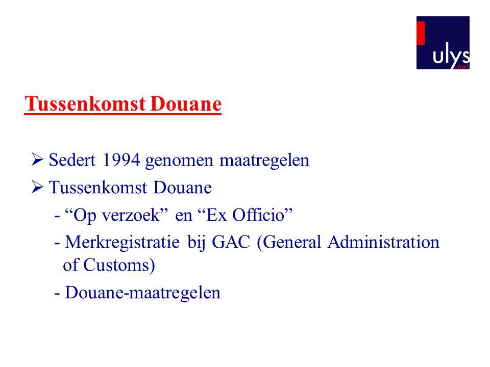 """Tussenkomst Douane  Sedert 1994 genomen maatregelen  Tussenkomst Douane - """"Op verzoek"""" en """"Ex Officio"""" - Merkregistratie bij GAC (General Administra"""