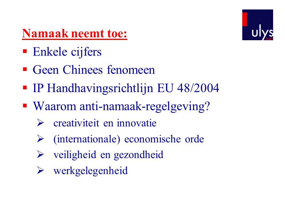 Namaak neemt toe:  Enkele cijfers  Geen Chinees fenomeen  IP Handhavingsrichtlijn EU 48/2004  Waarom anti-namaak-regelgeving?  creativiteit en in