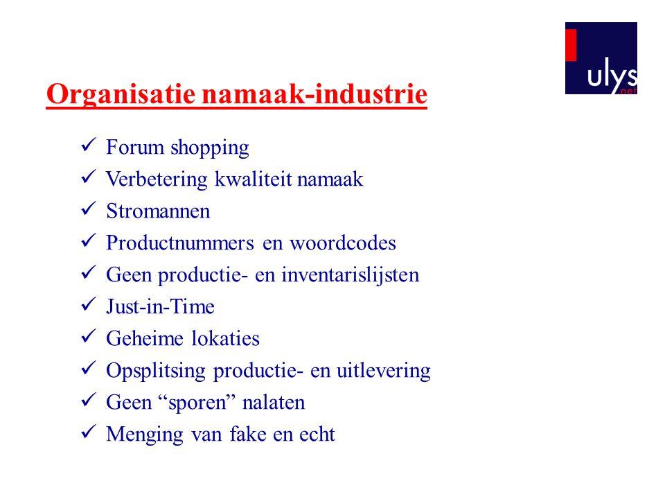 Organisatie namaak-industrie Forum shopping Verbetering kwaliteit namaak Stromannen Productnummers en woordcodes Geen productie- en inventarislijsten