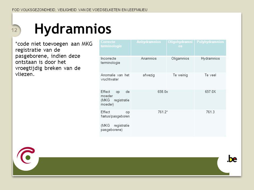FOD VOLKSGEZONDHEID, VEILIGHEID VAN DE VOEDSELKETEN EN LEEFMILIEU Hydramnios Correcte terminologie AnhydramniosOligohydramni os Polyhydramnios Incorre