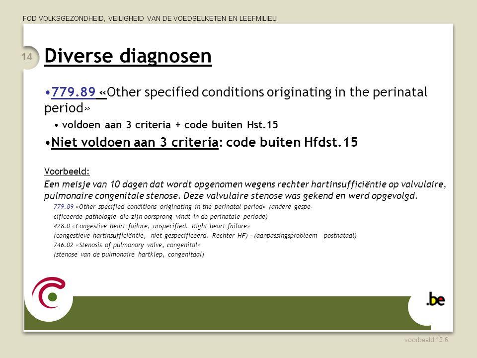 FOD VOLKSGEZONDHEID, VEILIGHEID VAN DE VOEDSELKETEN EN LEEFMILIEU Diverse diagnosen 779.89 «Other specified conditions originating in the perinatal pe