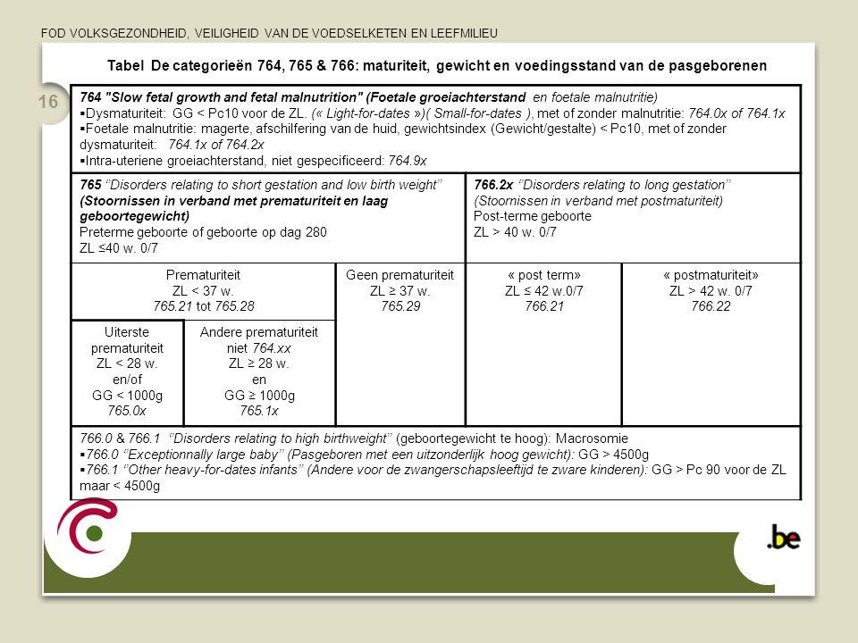 FOD VOLKSGEZONDHEID, VEILIGHEID VAN DE VOEDSELKETEN EN LEEFMILIEU 16 Tabel De categorieën 764, 765 & 766: maturiteit, gewicht en voedingsstand van de