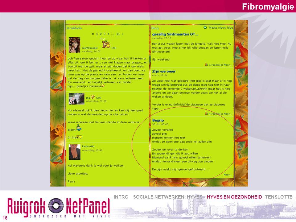 Fibromyalgie 16 INTRO SOCIALE NETWERKEN: HYVES HYVES EN GEZONDHEID TENSLOTTE