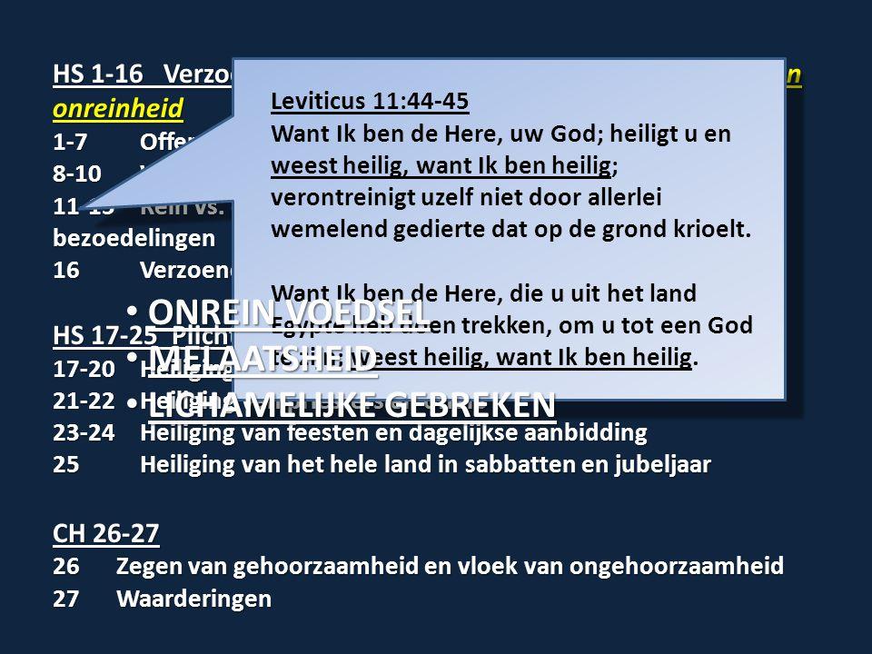 HS 1-16 Verzoening met God door het wegdoen van zonde en onreinheid 1-7Offerwetten 8-10Wijding van Aäron en zijn zonen 11-15Rein vs.