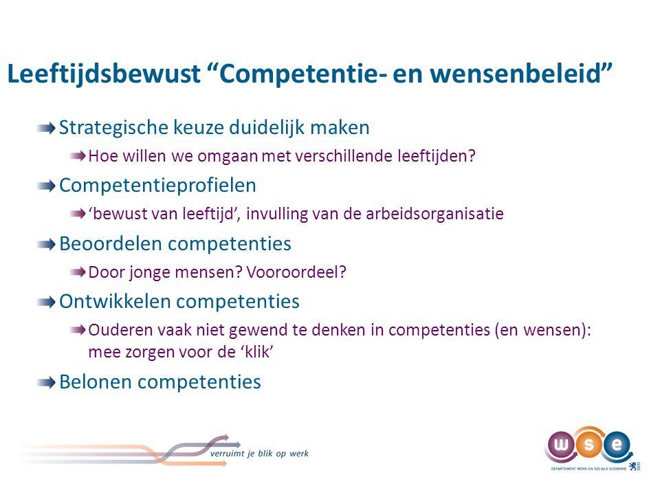 Leeftijdsbewust Competentie- en wensenbeleid Strategische keuze duidelijk maken Hoe willen we omgaan met verschillende leeftijden.