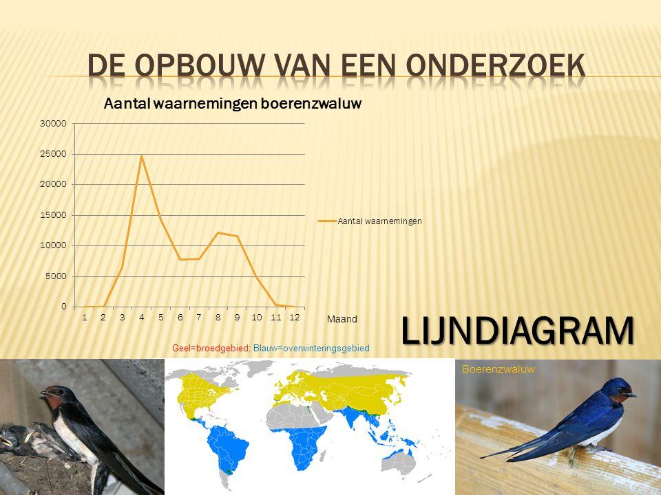 6 LIJNDIAGRAM Geel=broedgebied; Blauw=overwinteringsgebied Boerenzwaluw