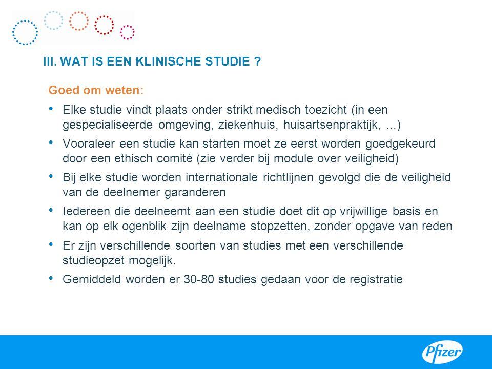 III. WAT IS EEN KLINISCHE STUDIE ? Enkele definities: Definitie Klinisch Onderzoek: Op een ethisch aanvaardbare manier wordt bij de mens, door middel