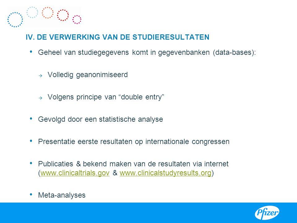 IV. DE VERWERKING VAN DE STUDIERESULTATEN Noteren van de verzamelde gegevens in CRF's III