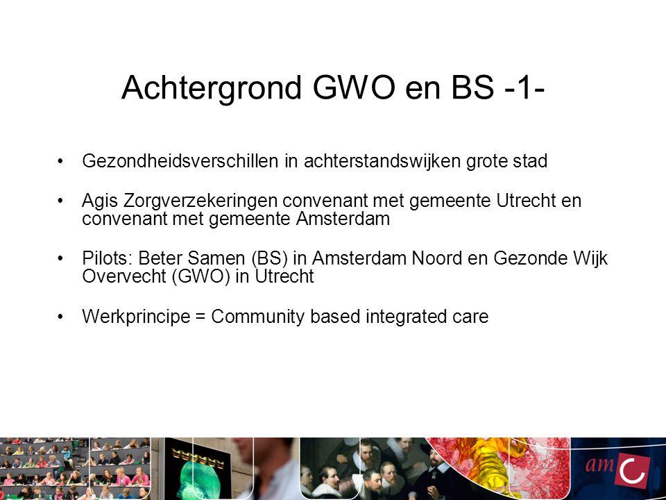 Achtergrond GWO en BS -1- Gezondheidsverschillen in achterstandswijken grote stad Agis Zorgverzekeringen convenant met gemeente Utrecht en convenant m