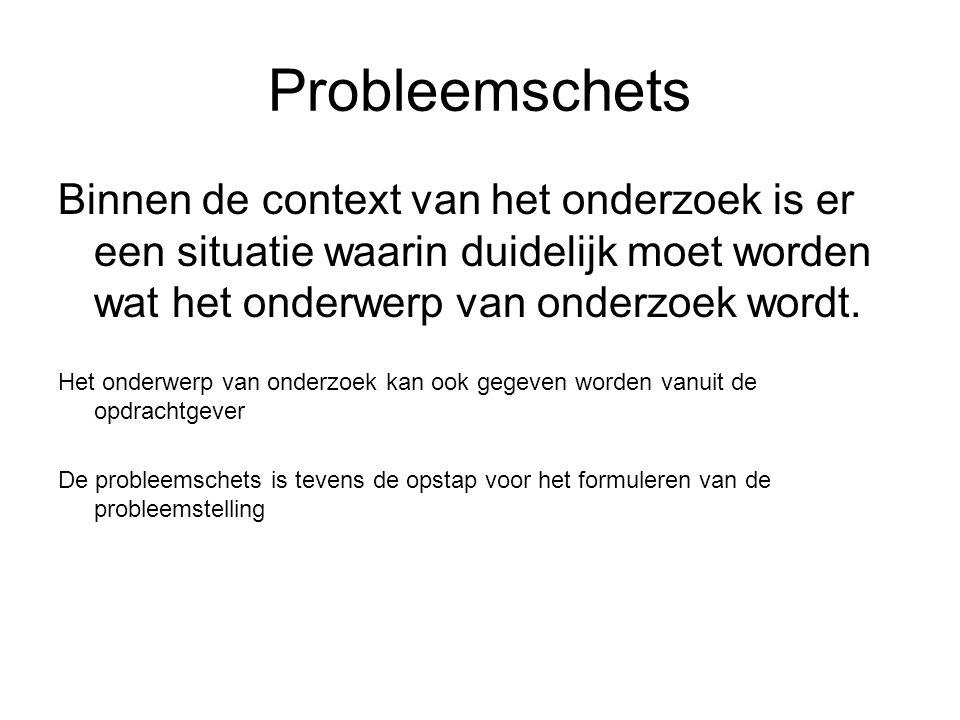 Probleemstelling In een korte en bondige zin/ stelling omschreven wat het onderwerp van onderzoek is.