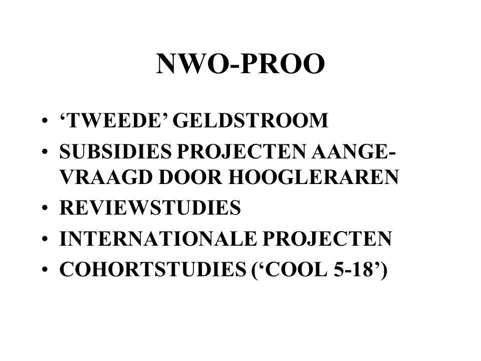 NWO-PROO 'TWEEDE' GELDSTROOM SUBSIDIES PROJECTEN AANGE- VRAAGD DOOR HOOGLERAREN REVIEWSTUDIES INTERNATIONALE PROJECTEN COHORTSTUDIES ('COOL 5-18')