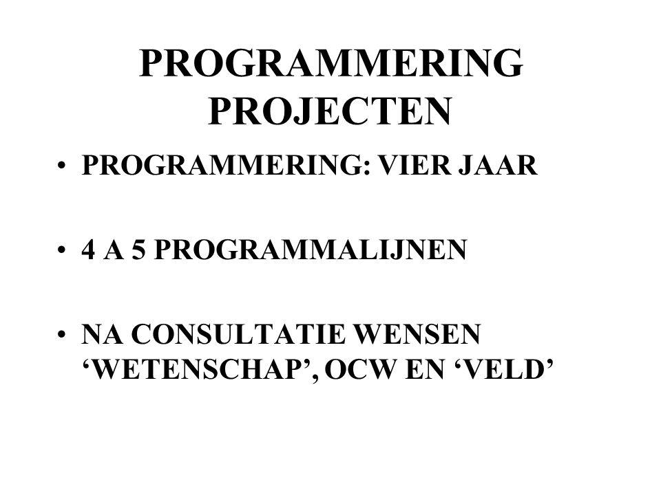 PROGRAMMERING PROJECTEN PROGRAMMERING: VIER JAAR 4 A 5 PROGRAMMALIJNEN NA CONSULTATIE WENSEN 'WETENSCHAP', OCW EN 'VELD'