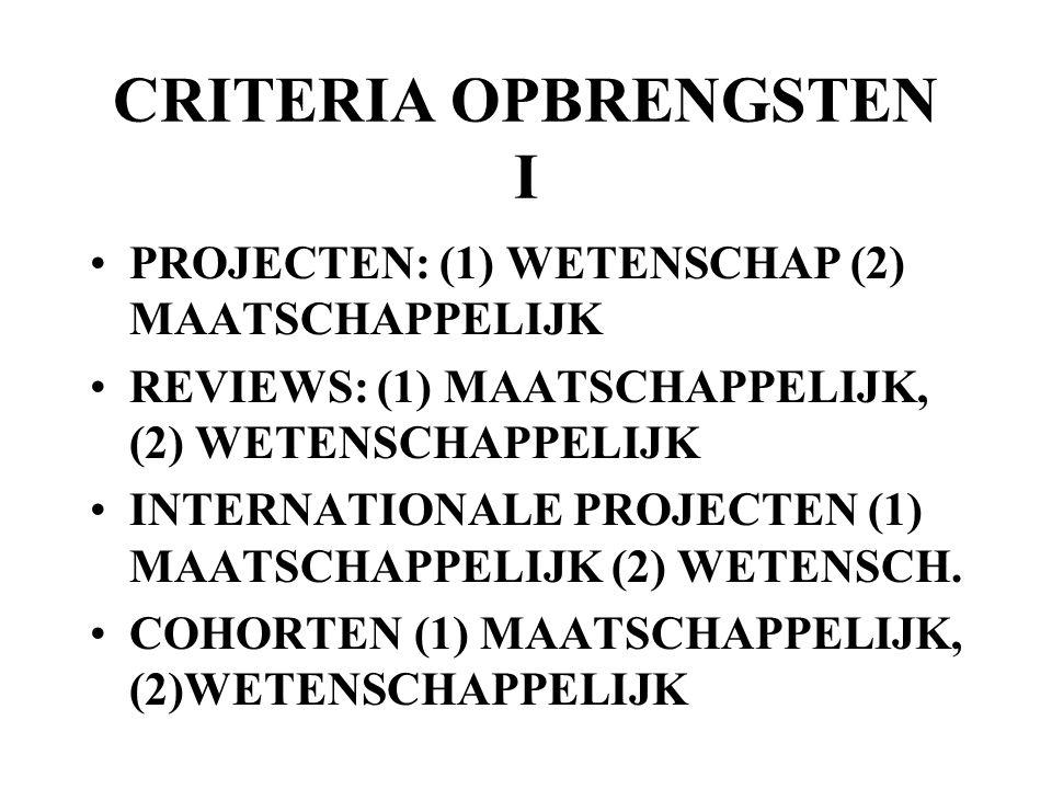 CRITERIA OPBRENGSTEN I PROJECTEN: (1) WETENSCHAP (2) MAATSCHAPPELIJK REVIEWS: (1) MAATSCHAPPELIJK, (2) WETENSCHAPPELIJK INTERNATIONALE PROJECTEN (1) M