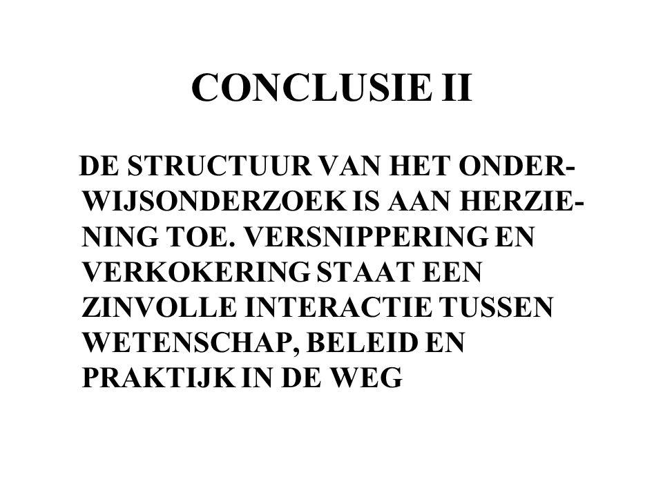 CONCLUSIE II DE STRUCTUUR VAN HET ONDER- WIJSONDERZOEK IS AAN HERZIE- NING TOE. VERSNIPPERING EN VERKOKERING STAAT EEN ZINVOLLE INTERACTIE TUSSEN WETE
