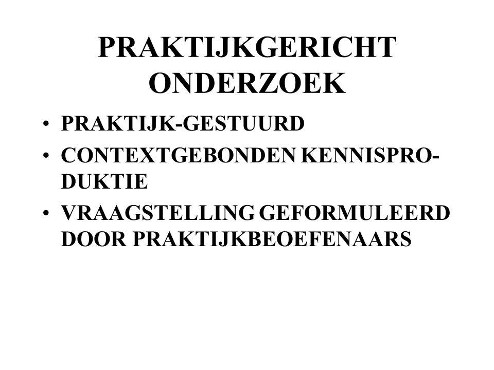 PRAKTIJKGERICHT ONDERZOEK PRAKTIJK-GESTUURD CONTEXTGEBONDEN KENNISPRO- DUKTIE VRAAGSTELLING GEFORMULEERD DOOR PRAKTIJKBEOEFENAARS