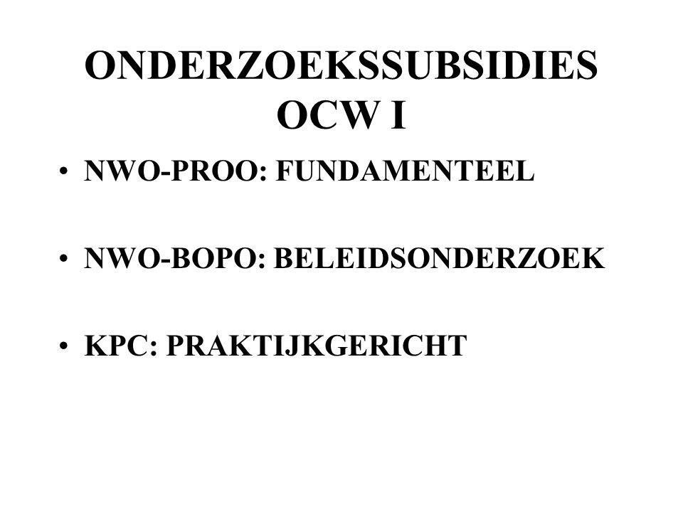 ONDERZOEKSSUBSIDIES OCW I NWO-PROO: FUNDAMENTEEL NWO-BOPO: BELEIDSONDERZOEK KPC: PRAKTIJKGERICHT