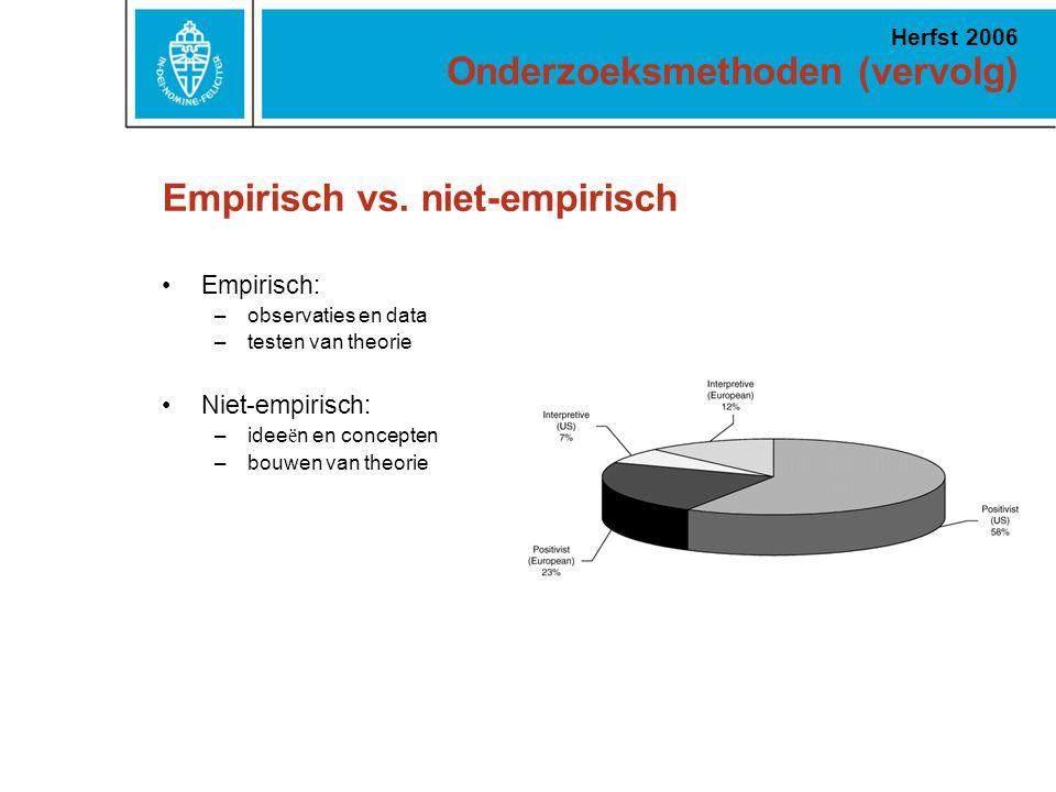 Onderzoeksmethoden (vervolg) Herfst 2006 Empirisch vs. niet-empirisch Empirisch: –observaties en data –testen van theorie Niet-empirisch: –idee ë n en