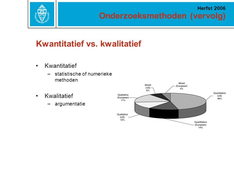 Onderzoeksmethoden (vervolg) Herfst 2006 Kwantitatief vs. kwalitatief Kwantitatief –statistische of numerieke methoden Kwalitatief –argumentatie