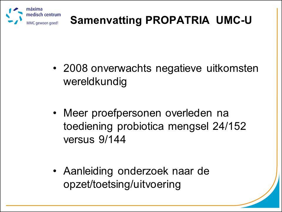 Samenvatting PROPATRIA UMC-U 2008 onverwachts negatieve uitkomsten wereldkundig Meer proefpersonen overleden na toediening probiotica mengsel 24/152 v