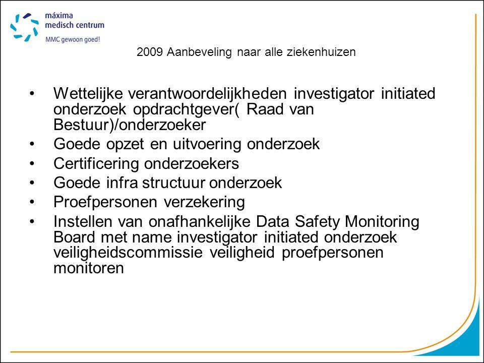2009 Aanbeveling naar alle ziekenhuizen Wettelijke verantwoordelijkheden investigator initiated onderzoek opdrachtgever( Raad van Bestuur)/onderzoeker