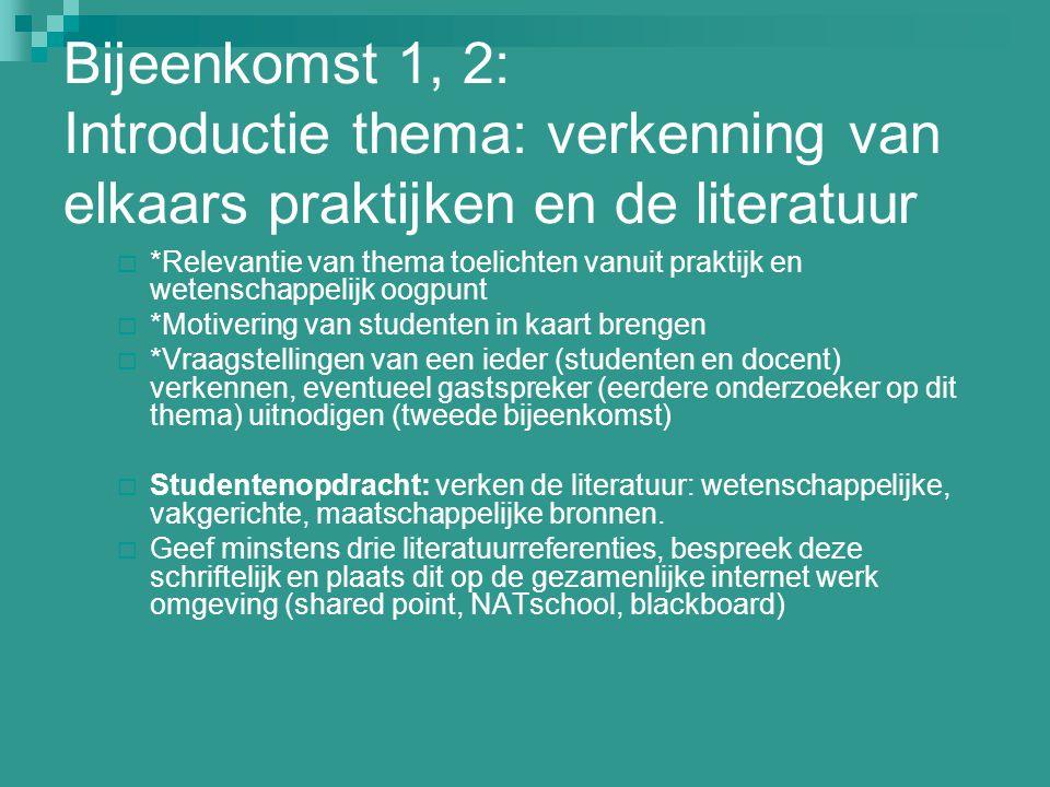 Bijeenkomst 1, 2: Introductie thema: verkenning van elkaars praktijken en de literatuur  *Relevantie van thema toelichten vanuit praktijk en wetensch