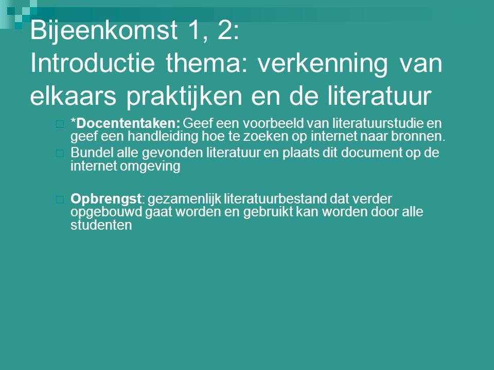 Bijeenkomst 1, 2: Introductie thema: verkenning van elkaars praktijken en de literatuur  *Docententaken: Geef een voorbeeld van literatuurstudie en g