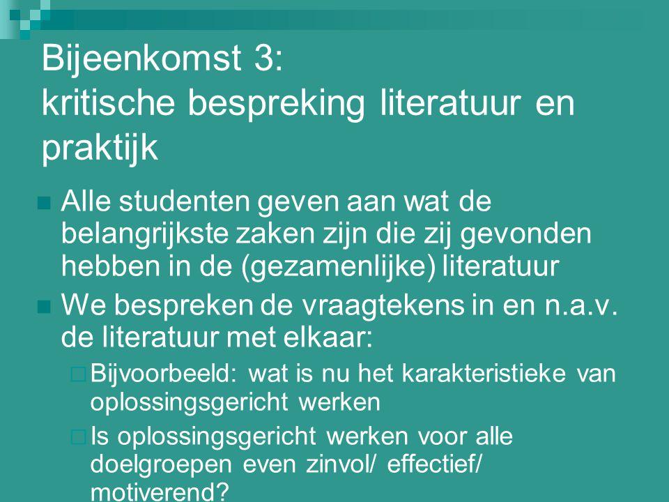 Bijeenkomst 3: kritische bespreking literatuur en praktijk Alle studenten geven aan wat de belangrijkste zaken zijn die zij gevonden hebben in de (gez