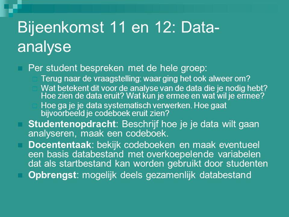 Bijeenkomst 11 en 12: Data- analyse Per student bespreken met de hele groep:  Terug naar de vraagstelling: waar ging het ook alweer om?  Wat beteken