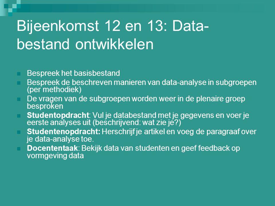 Bijeenkomst 12 en 13: Data- bestand ontwikkelen Bespreek het basisbestand Bespreek de beschreven manieren van data-analyse in subgroepen (per methodie